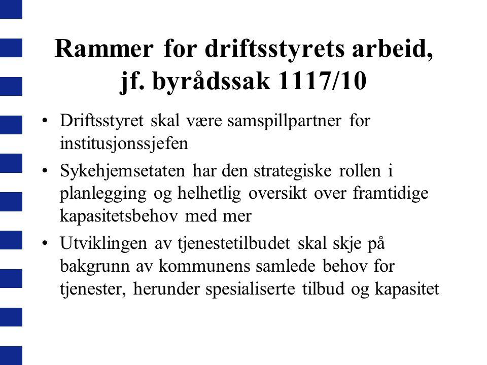 Rammer for driftsstyrets arbeid, jf. byrådssak 1117/10 Driftsstyret skal være samspillpartner for institusjonssjefen Sykehjemsetaten har den strategis