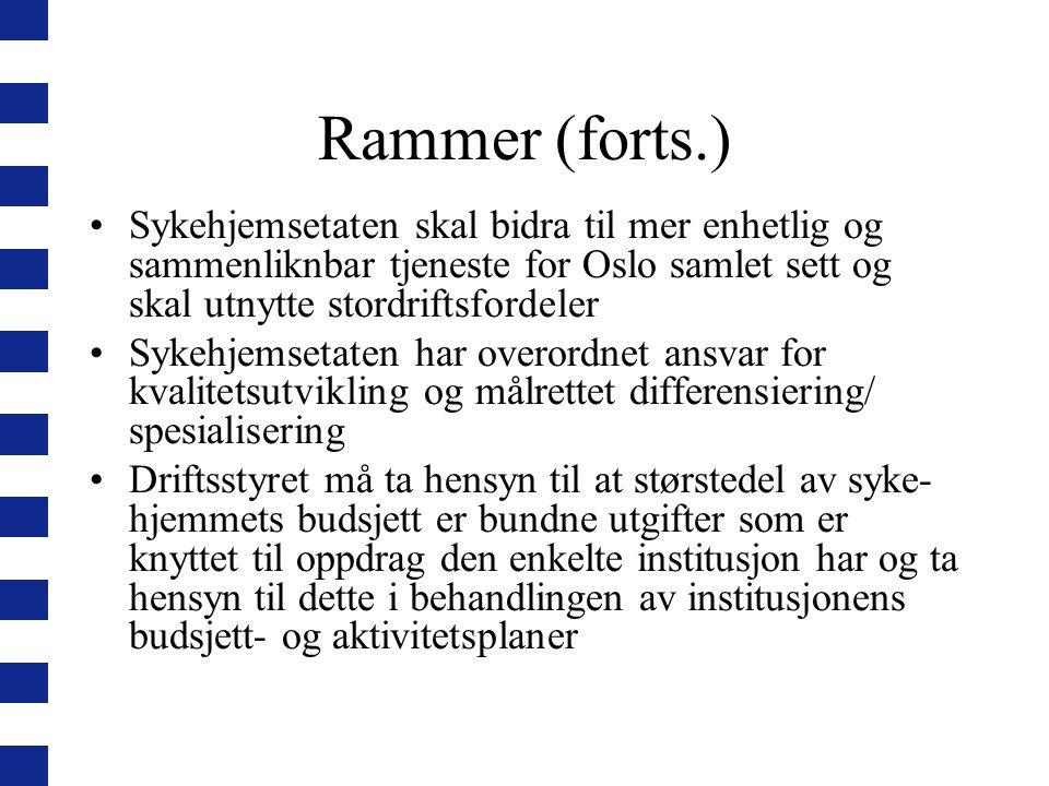 Rammer (forts.) Sykehjemsetaten skal bidra til mer enhetlig og sammenliknbar tjeneste for Oslo samlet sett og skal utnytte stordriftsfordeler Sykehjem