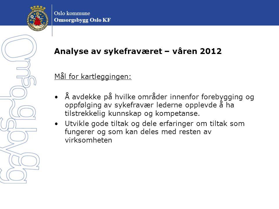 Oslo kommune Omsorgsbygg Oslo KF Analyse av sykefraværet – våren 2012 Mål for kartleggingen: Å avdekke på hvilke områder innenfor forebygging og oppfø
