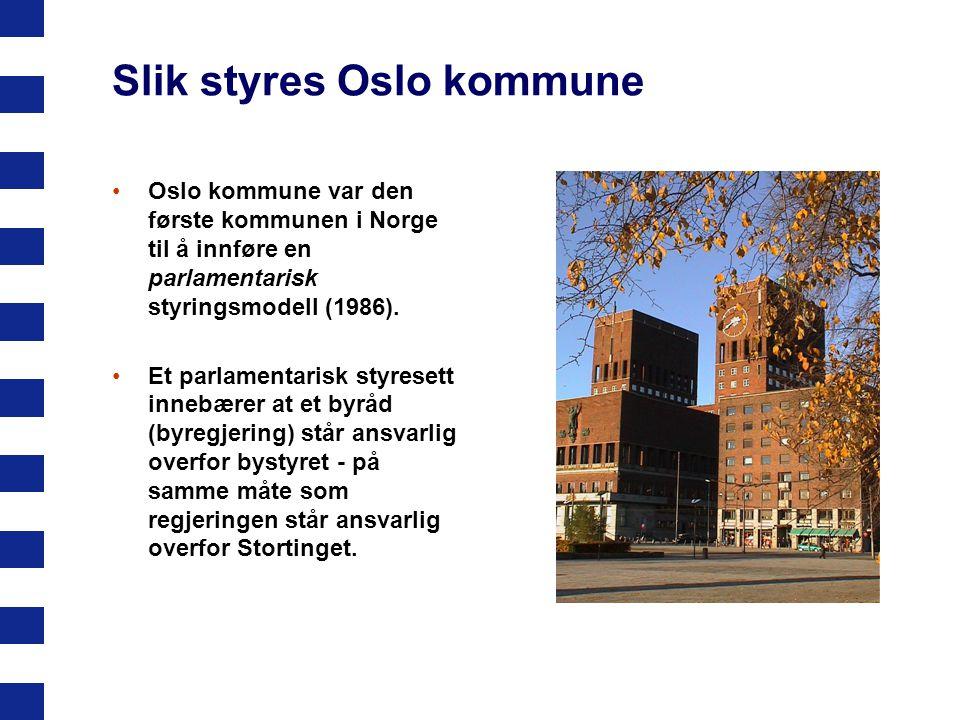 Slik styres Oslo kommune Oslo kommune var den første kommunen i Norge til å innføre en parlamentarisk styringsmodell (1986). Et parlamentarisk styrese