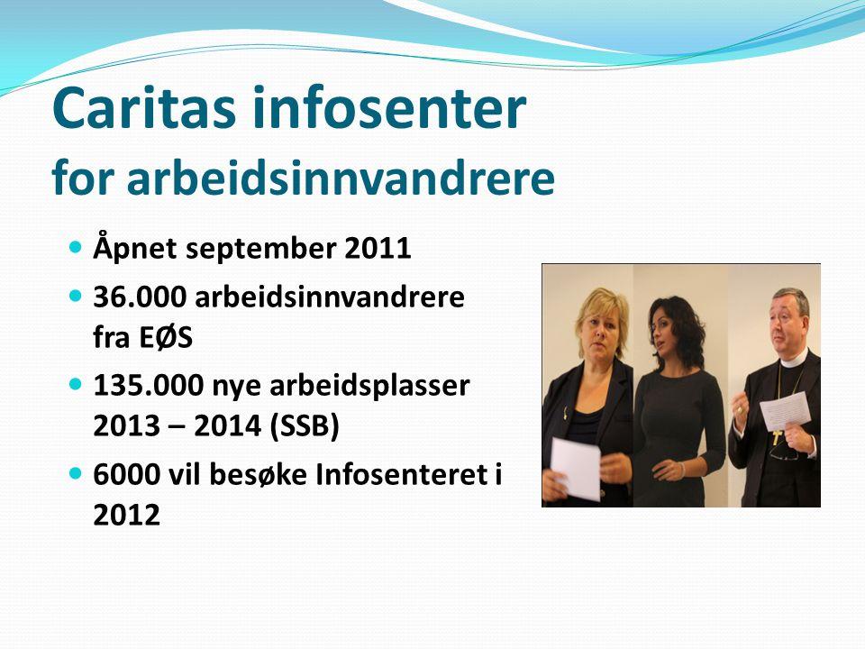 Caritas infosenter for arbeidsinnvandrere Åpnet september 2011 36.000 arbeidsinnvandrere fra EØS 135.000 nye arbeidsplasser 2013 – 2014 (SSB) 6000 vil besøke Infosenteret i 2012