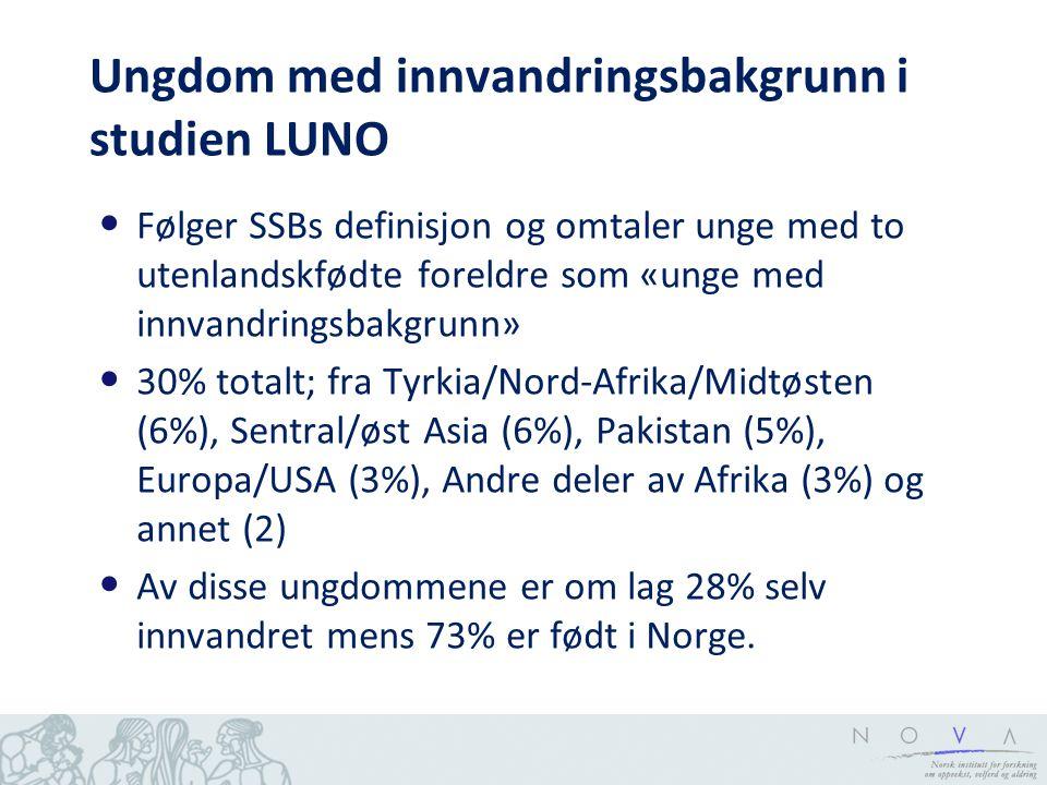 Ungdom med innvandringsbakgrunn i studien LUNO Følger SSBs definisjon og omtaler unge med to utenlandskfødte foreldre som «unge med innvandringsbakgru