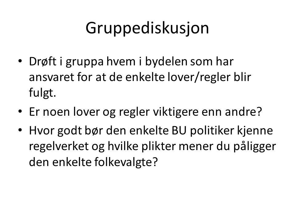 Gruppediskusjon Drøft i gruppa hvem i bydelen som har ansvaret for at de enkelte lover/regler blir fulgt.