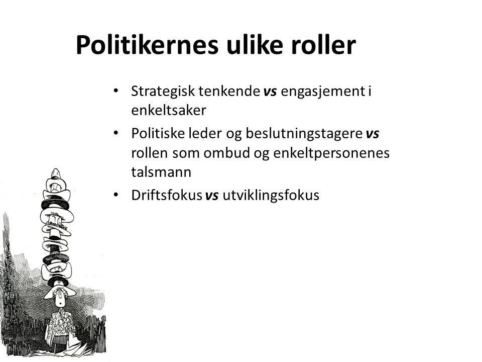 Politikernes ulike roller Strategisk tenkende vs engasjement i enkeltsaker Politiske leder og beslutningstagere vs rollen som ombud og enkeltpersonenes talsmann Driftsfokus vs utviklingsfokus