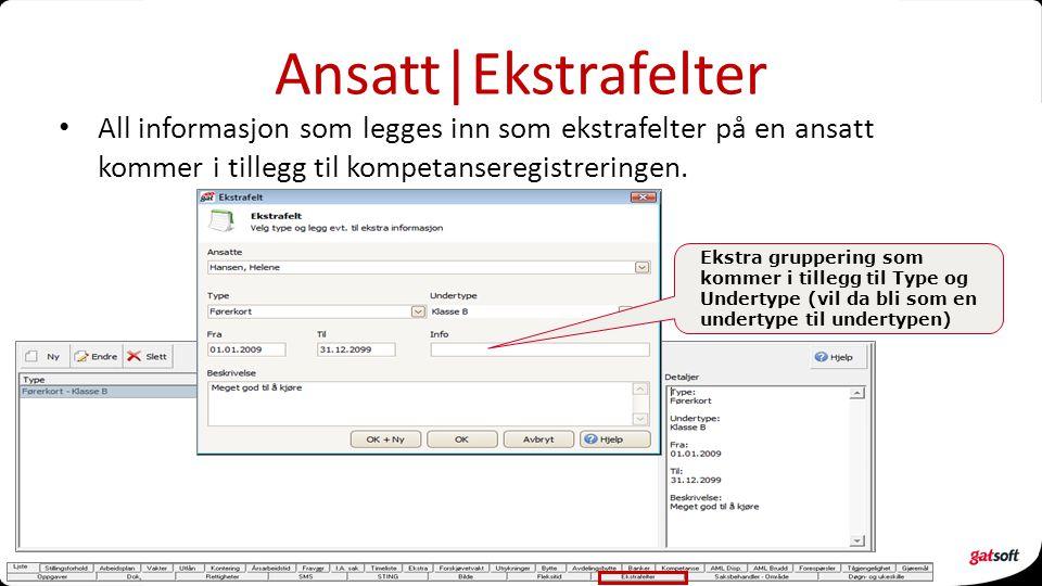Ansatt|Ekstrafelter All informasjon som legges inn som ekstrafelter på en ansatt kommer i tillegg til kompetanseregistreringen. Ekstra gruppering som