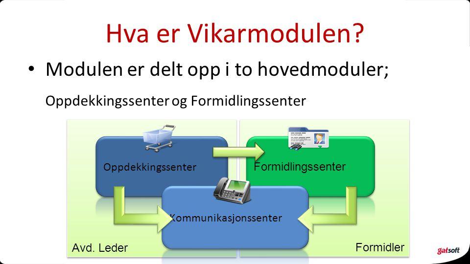 Modulen er delt opp i to hovedmoduler; Oppdekkingssenter og Formidlingssenter Formidler Avd. Leder Hva er Vikarmodulen?