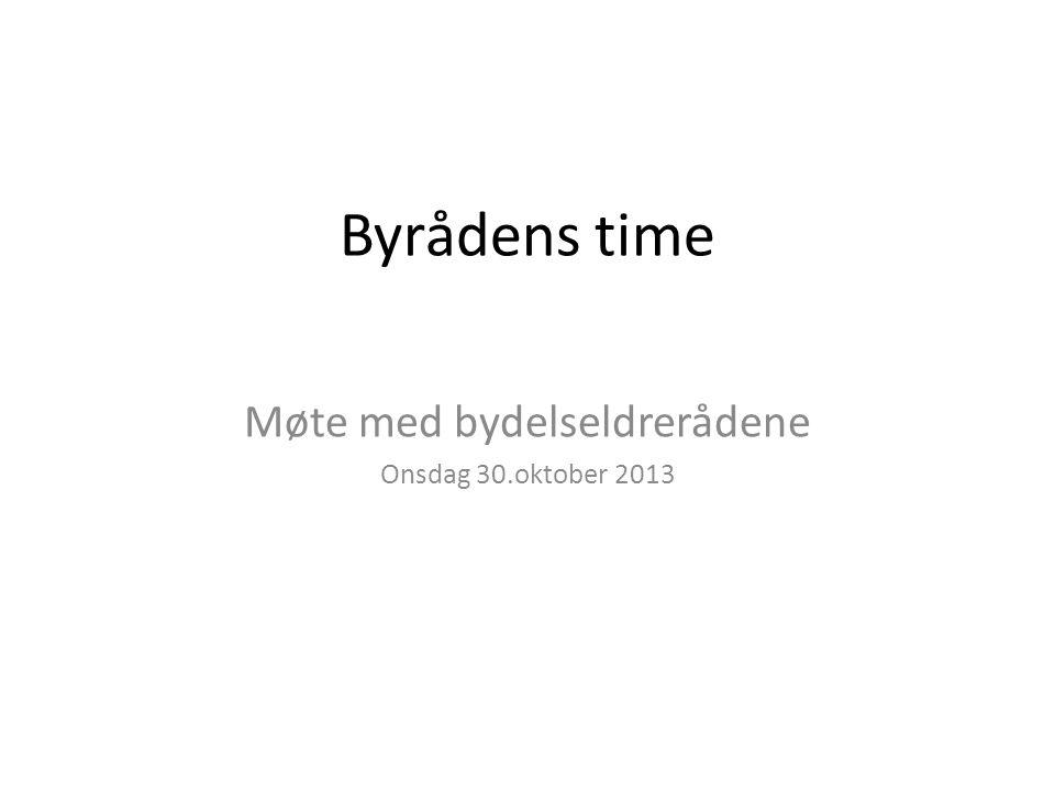 Byrådens time Møte med bydelseldrerådene Onsdag 30.oktober 2013