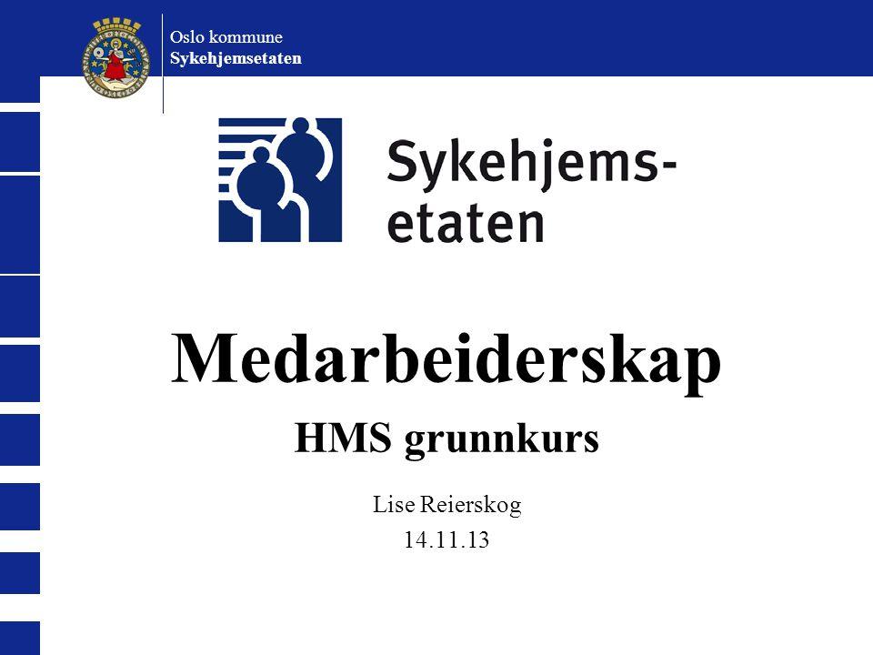 Oslo kommune Sykehjemsetaten Medarbeiderskap HMS grunnkurs Lise Reierskog 14.11.13