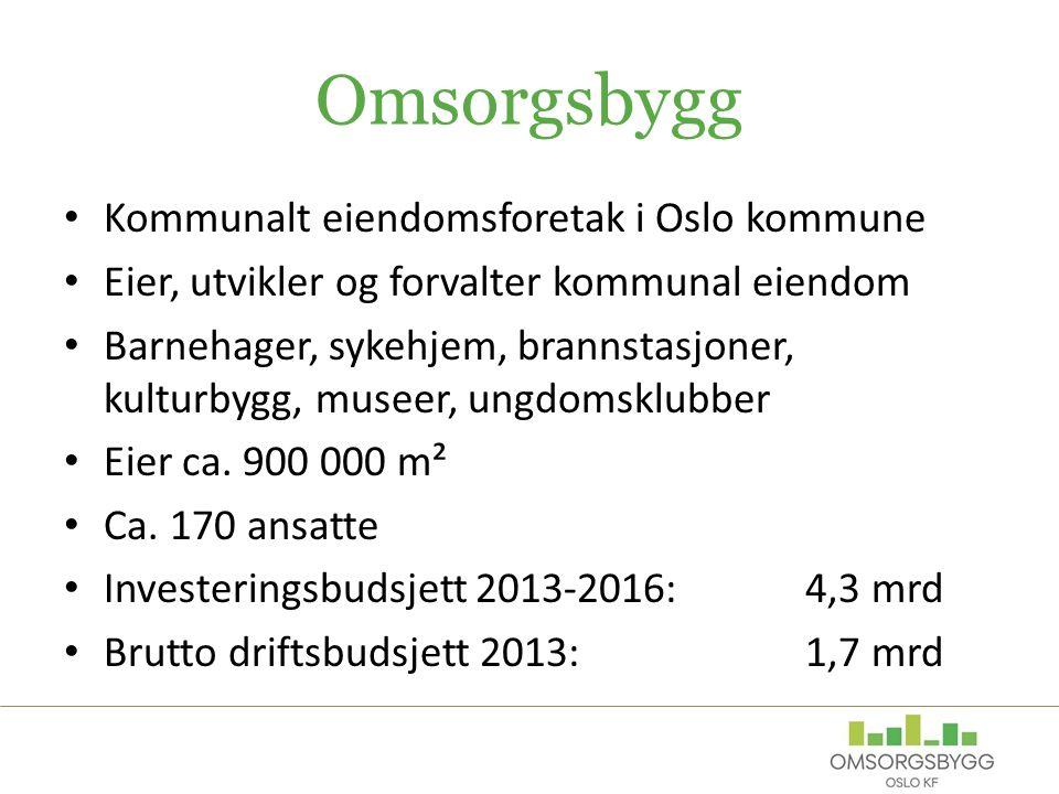 Omsorgsbygg Kommunalt eiendomsforetak i Oslo kommune Eier, utvikler og forvalter kommunal eiendom Barnehager, sykehjem, brannstasjoner, kulturbygg, museer, ungdomsklubber Eier ca.