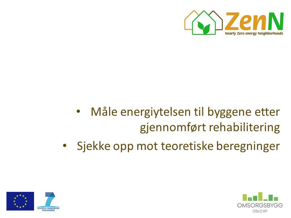 Måle energiytelsen til byggene etter gjennomført rehabilitering Sjekke opp mot teoretiske beregninger