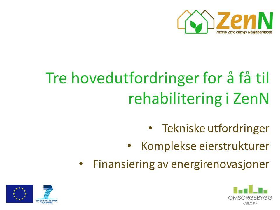 Tre hovedutfordringer for å få til rehabilitering i ZenN Tekniske utfordringer Komplekse eierstrukturer Finansiering av energirenovasjoner
