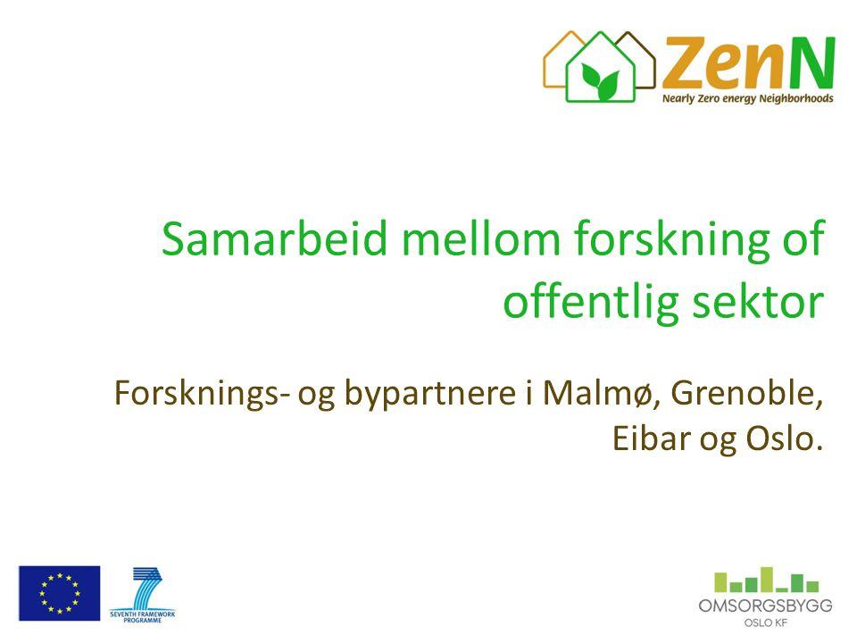 Samarbeid mellom forskning of offentlig sektor Forsknings- og bypartnere i Malmø, Grenoble, Eibar og Oslo.