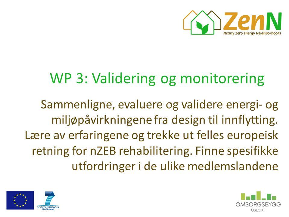 WP 3: Validering og monitorering Sammenligne, evaluere og validere energi- og miljøpåvirkningene fra design til innflytting. Lære av erfaringene og tr