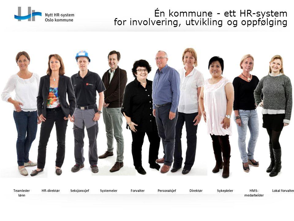 Én kommune - ett HR-system for involvering, utvikling og oppfølging Teamleder lønn HR-direktørSeksjonssjefSystemeierForvalterPersonalsjefDirektørSykep