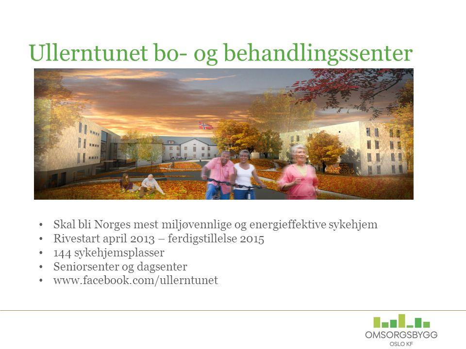 Ullerntunet bo- og behandlingssenter Skal bli Norges mest miljøvennlige og energieffektive sykehjem Rivestart april 2013 – ferdigstillelse 2015 144 sy