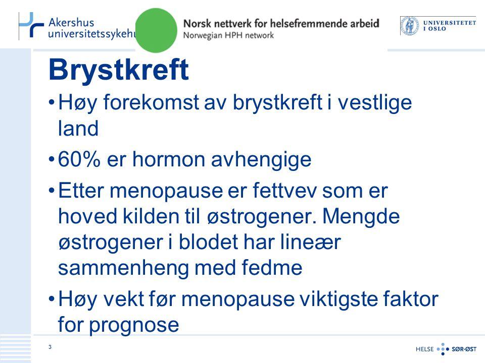 Brystkreft Høy forekomst av brystkreft i vestlige land 60% er hormon avhengige Etter menopause er fettvev som er hoved kilden til østrogener.