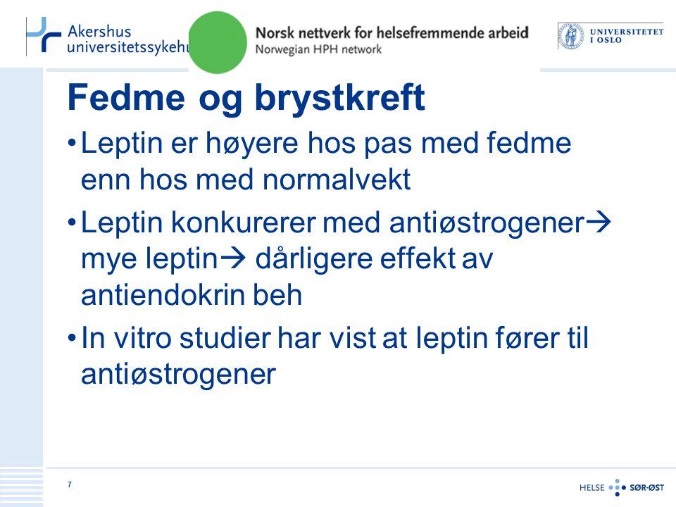 Fedme og brystkreft Leptin er høyere hos pas med fedme enn hos med normalvekt Leptin konkurerer med antiøstrogener  mye leptin  dårligere effekt av antiendokrin beh In vitro studier har vist at leptin fører til antiøstrogener 7
