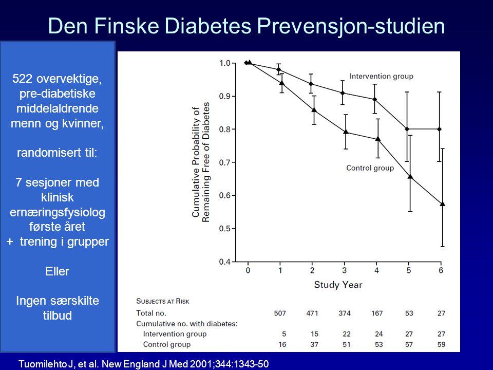 Den Finske Diabetes Prevensjon-studien 522 overvektige, pre-diabetiske middelaldrende menn og kvinner, randomisert til: 7 sesjoner med klinisk ernærin