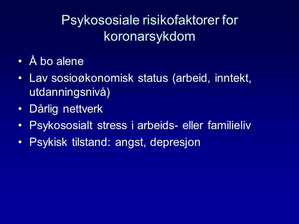 Psykososiale risikofaktorer for koronarsykdom Å bo alene Lav sosioøkonomisk status (arbeid, inntekt, utdanningsnivå) Dårlig nettverk Psykososialt stre