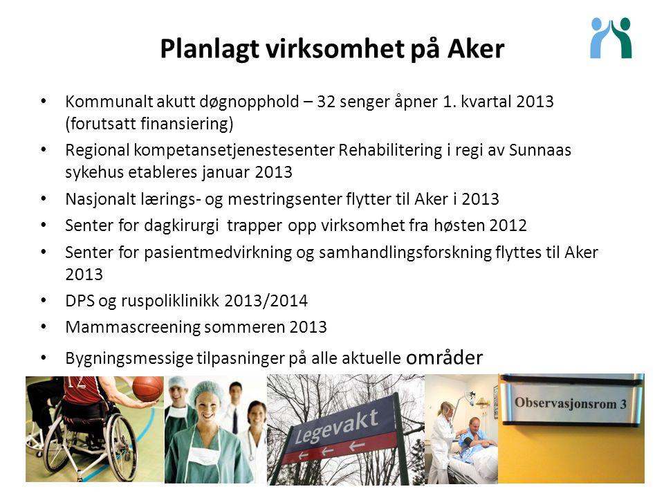 Planlagt virksomhet på Aker Kommunalt akutt døgnopphold – 32 senger åpner 1. kvartal 2013 (forutsatt finansiering) Regional kompetansetjenestesenter R