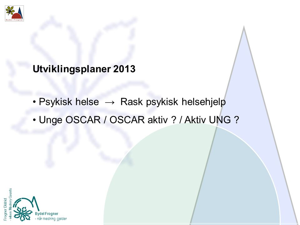 Utviklingsplaner 2013 Psykisk helse → Rask psykisk helsehjelp Unge OSCAR / OSCAR aktiv ? / Aktiv UNG ? Bydel Frogner - når mestring gjelder Frogner Di