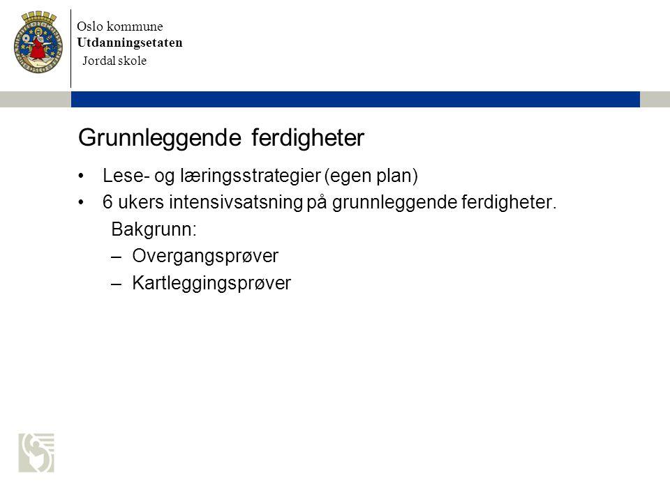 Oslo kommune Utdanningsetaten Skolens navn settes inn her Grunnleggende ferdigheter Lese- og læringsstrategier (egen plan) 6 ukers intensivsatsning på