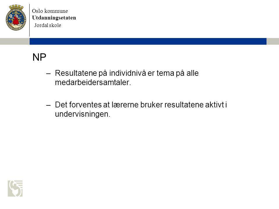 Oslo kommune Utdanningsetaten Skolens navn settes inn her NP –Resultatene på individnivå er tema på alle medarbeidersamtaler. –Det forventes at lærern