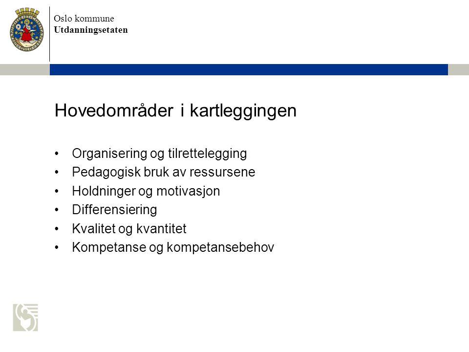 Oslo kommune Utdanningsetaten Hovedområder i kartleggingen Organisering og tilrettelegging Pedagogisk bruk av ressursene Holdninger og motivasjon Differensiering Kvalitet og kvantitet Kompetanse og kompetansebehov