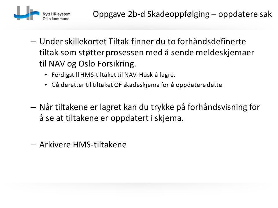 – Under skillekortet Tiltak finner du to forhåndsdefinerte tiltak som støtter prosessen med å sende meldeskjemaer til NAV og Oslo Forsikring. Ferdigst