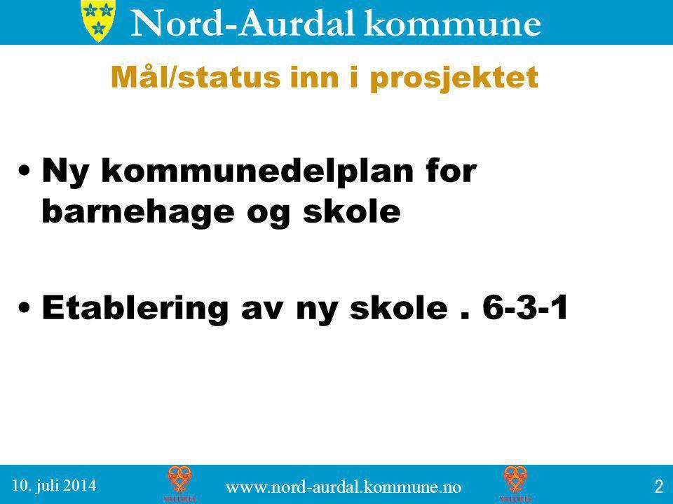 Nord-Aurdal kommune Mål/status inn i prosjektet Ny kommunedelplan for barnehage og skole Etablering av ny skole.