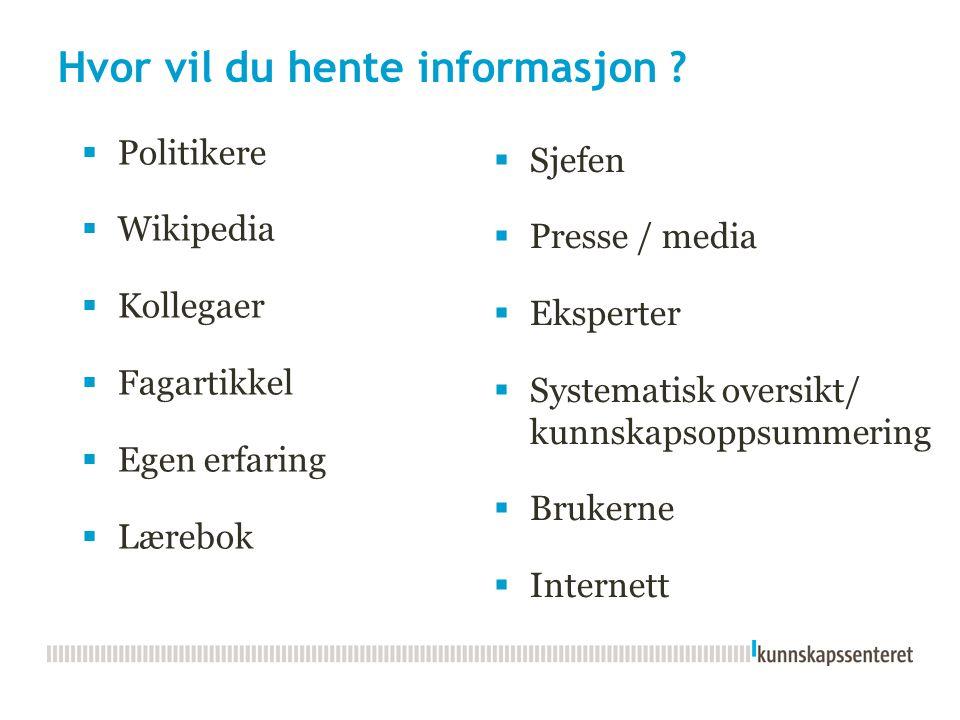 Hvor vil du hente informasjon ?  Sjefen  Presse / media  Eksperter  Systematisk oversikt/ kunnskapsoppsummering  Brukerne  Internett  Politiker