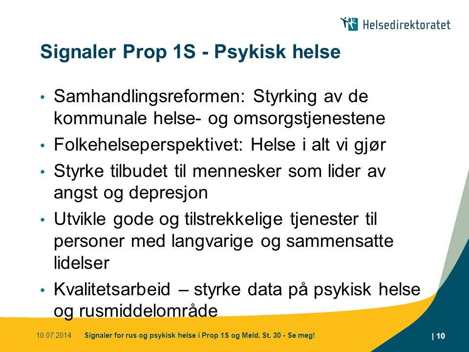 Signaler Prop 1S - Psykisk helse Samhandlingsreformen: Styrking av de kommunale helse- og omsorgstjenestene Folkehelseperspektivet: Helse i alt vi gjø