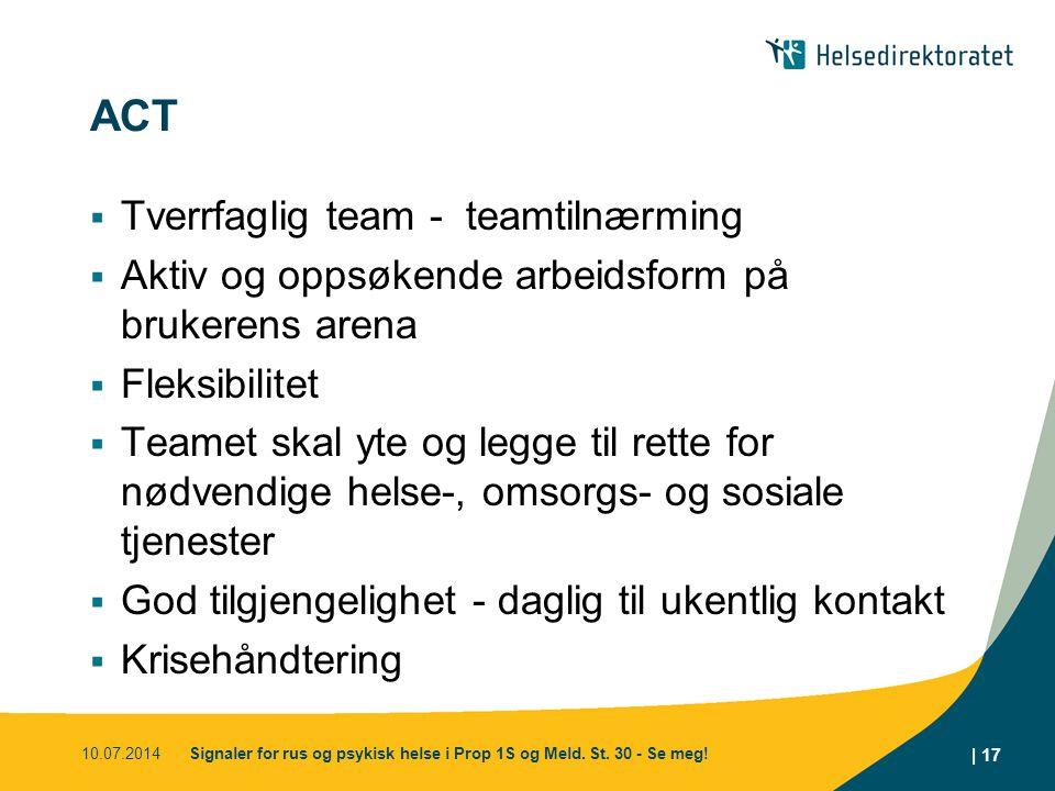 ACT  Tverrfaglig team - teamtilnærming  Aktiv og oppsøkende arbeidsform på brukerens arena  Fleksibilitet  Teamet skal yte og legge til rette for