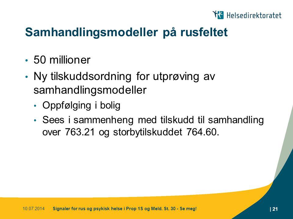 Samhandlingsmodeller på rusfeltet 50 millioner Ny tilskuddsordning for utprøving av samhandlingsmodeller Oppfølging i bolig Sees i sammenheng med tilskudd til samhandling over 763.21 og storbytilskuddet 764.60.
