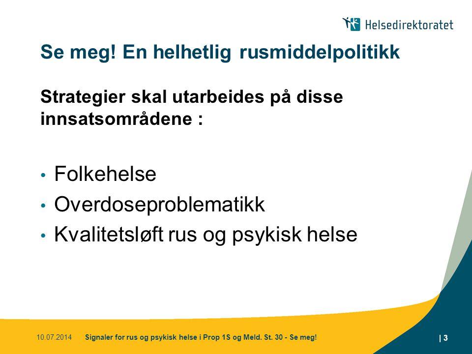 Se meg! En helhetlig rusmiddelpolitikk Strategier skal utarbeides på disse innsatsområdene : Folkehelse Overdoseproblematikk Kvalitetsløft rus og psyk