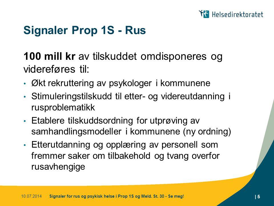 Signaler Prop 1S - Rus 100 mill kr av tilskuddet omdisponeres og videreføres til: Økt rekruttering av psykologer i kommunene Stimuleringstilskudd til