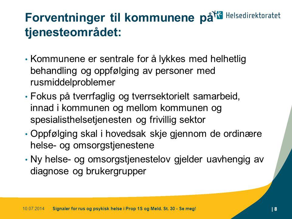 Forventninger til kommunene på tjenesteområdet: Kommunene er sentrale for å lykkes med helhetlig behandling og oppfølging av personer med rusmiddelpro