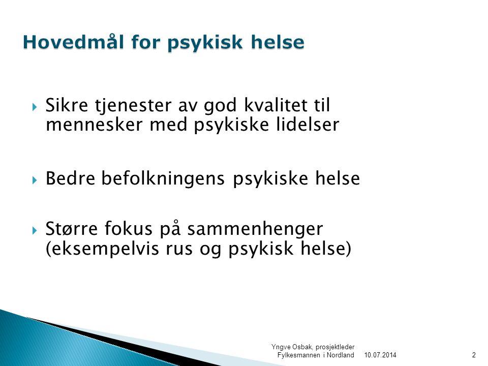  Sikre tjenester av god kvalitet til mennesker med psykiske lidelser  Bedre befolkningens psykiske helse  Større fokus på sammenhenger (eksempelvis rus og psykisk helse) 210.07.2014 Yngve Osbak, prosjektleder Fylkesmannen i Nordland