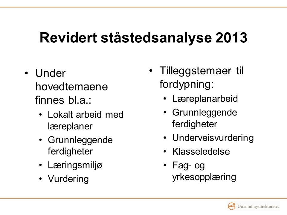 Revidert ståstedsanalyse 2013 Under hovedtemaene finnes bl.a.: Lokalt arbeid med læreplaner Grunnleggende ferdigheter Læringsmiljø Vurdering Tilleggst