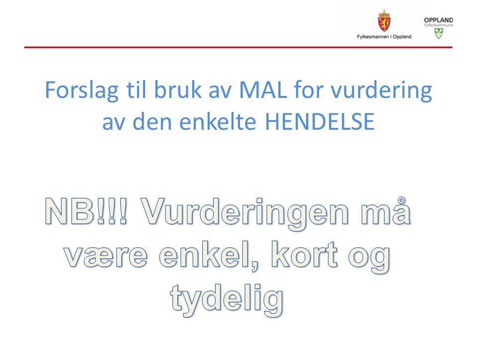 Forslag til bruk av MAL for vurdering av den enkelte HENDELSE