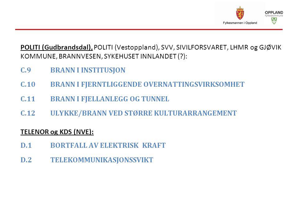 POLITI (Gudbrandsdal), POLITI (Vestoppland), SVV, SIVILFORSVARET, LHMR og GJØVIK KOMMUNE, BRANNVESEN, SYKEHUSET INNLANDET (?): C.9BRANN I INSTITUSJON