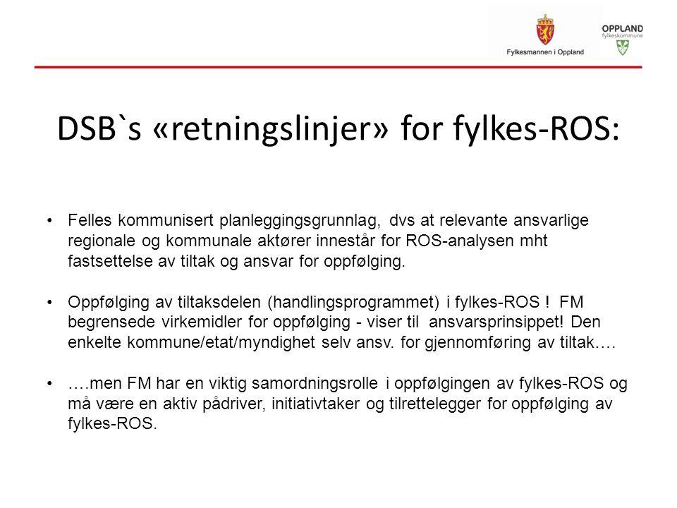 DSB`s «retningslinjer» for fylkes-ROS: Felles kommunisert planleggingsgrunnlag, dvs at relevante ansvarlige regionale og kommunale aktører innestår fo