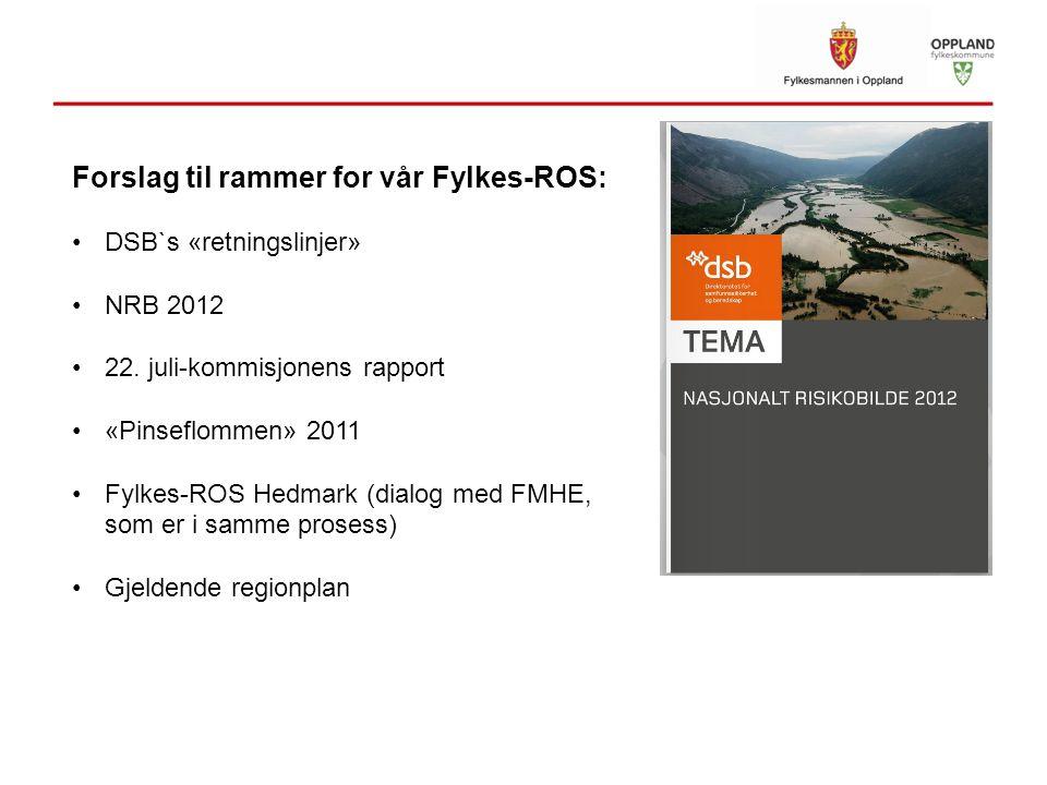 Forslag til rammer for vår Fylkes-ROS: DSB`s «retningslinjer» NRB 2012 22. juli-kommisjonens rapport «Pinseflommen» 2011 Fylkes-ROS Hedmark (dialog me