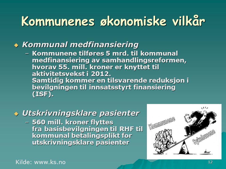 12  Kommunal medfinansiering –Kommunene tilføres 5 mrd.