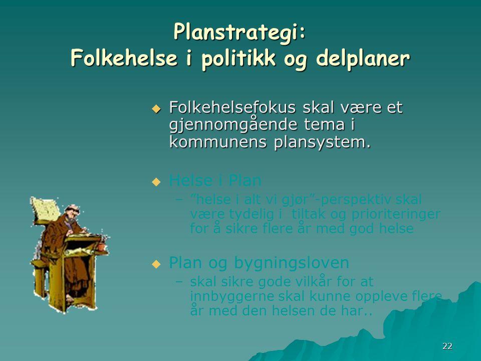 22 Planstrategi: Folkehelse i politikk og delplaner  Folkehelsefokus skal være et gjennomgående tema i kommunens plansystem.