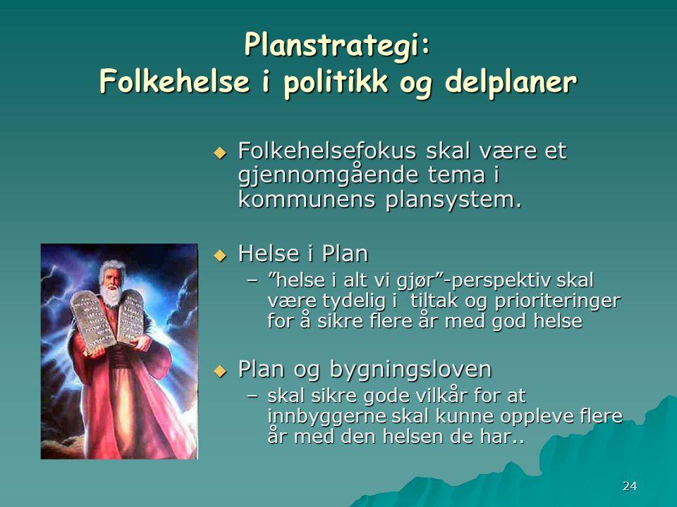 24 Planstrategi: Folkehelse i politikk og delplaner  Folkehelsefokus skal være et gjennomgående tema i kommunens plansystem.