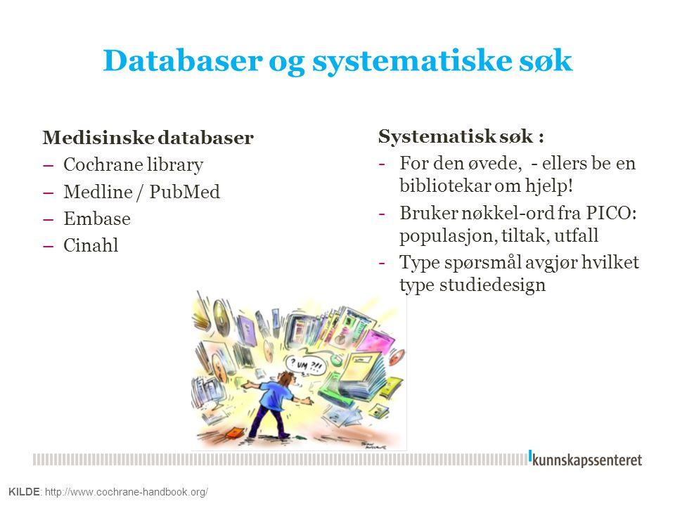 Databaser og systematiske søk Medisinske databaser –Cochrane library –Medline / PubMed –Embase –Cinahl KILDE: http://www.cochrane-handbook.org/ System