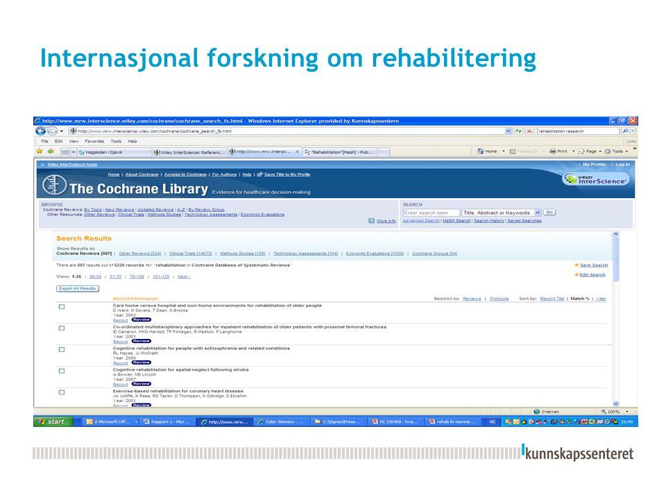 Internasjonal forskning om rehabilitering