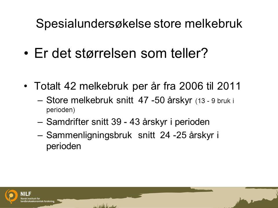 Spesialundersøkelse store melkebruk Er det størrelsen som teller? Totalt 42 melkebruk per år fra 2006 til 2011 –Store melkebruk snitt 47 -50 årskyr (1
