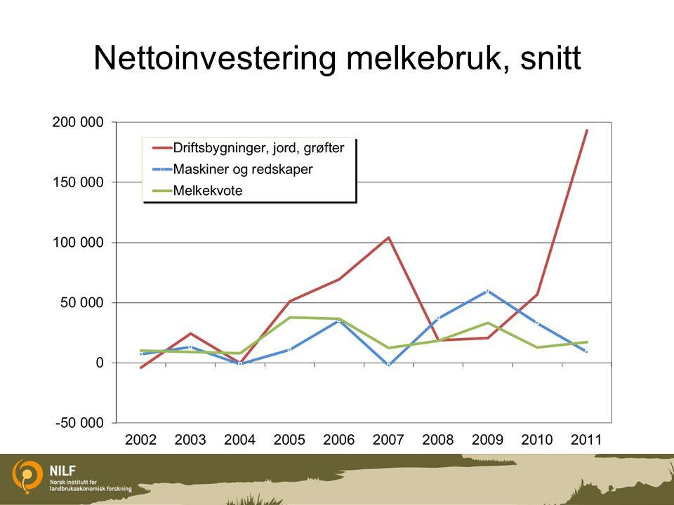 Nettoinvestering melkebruk, snitt